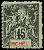 ** MOHELI - Poste - 11b, Dentelé 11: 45c. Noir S. Vert - Neufs