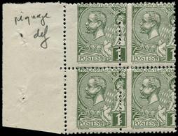 ** MONACO - Poste - 11, Bloc De 4 Piquage à Cheval (1 Ex. *): 1c. Olive (Maury) - Unused Stamps