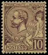 * MONACO - Poste - 14, Centrage Correct: 10c. Lilas-brun S. Jaune - Unused Stamps