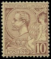 ** MONACO - Poste - 14, Centrage Courant: 10c. Lilas-brun S. Jaune - Unused Stamps