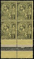 ** MONACO - Poste - 20, Bloc De 4, Bord De Feuille: 1f. Noir S. Jaune - Unused Stamps