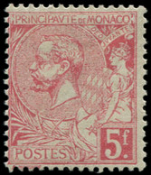 * MONACO - Poste - 21, Centrage Courant: 5f. Rose Vif S. Verdâtre - Unused Stamps
