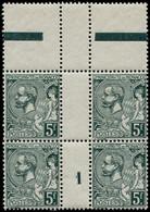 """** MONACO - Poste - 47, Bloc De 4 Millésime """"1"""", Tir 580: 5f. Vert-gris Foncé (Maury) - Unused Stamps"""