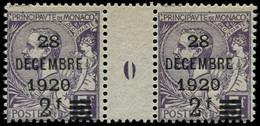 "** MONACO - Poste - 50, Paire Millésime ""0"": 2f. S. 5f. Violet (Maury) - Unused Stamps"