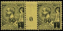 """* MONACO - Poste - 53, Paire Millésime """"0"""", 1 Exemplaire """"c"""" Brisé: 50c. S. 1f. Noir S. Jaune (Maury) - Unused Stamps"""