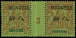 """** MONG-TZEU - Poste - 7, Paire Millésime """"3"""", * Sur Millésime: 20c. Brique S. Vert (Maury) - Unused Stamps"""