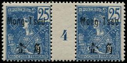 """** MONG-TZEU - Poste - 24, Paire Millésime """"4"""": 25c. Bleu - Unused Stamps"""