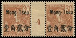 """* MONG-TZEU - Poste - 25, Paire Millésime """"4"""", Pli Sur 1 Exemplaire: 30c. Brun S. Chamois (Maury) - Unused Stamps"""