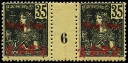 """* MONG-TZEU - Poste - 26, Paire Millésime """"6"""", Tirage 236: 35c. Noir S. Jaune (Maury) - Unused Stamps"""
