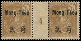 """* MONG-TZEU - Poste - 28, Paire Millésime """"4"""", Tirage 166: 50c. Bistre S. Paille (Maury) - Neufs"""