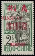 ** MONG-TZEU - Poste - 65a, Triple Surcharge Dont 1 Renversée (1 Trait Sans Doute D'origine): 80c. S. 2f. Vert - Unused Stamps