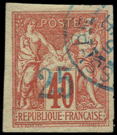 "O NOSSI-BE - Poste - 1, Surcharge Encre ""bleue Pâle"" Du 1er Tirage Brun & Calves + Certificat Roumet: 25 S. 40c. Rouge-o - Used Stamps"
