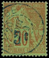 """O NOSSI-BE - Poste - 3, Surcharge """"bleue Pâle"""" Signé Brun & Calves + Certificat Calves: 5c. S. 20c. Brique S. Vert - Used Stamps"""