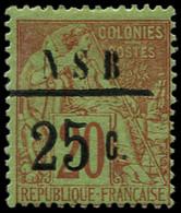 * NOSSI-BE - Poste - 10, Signé Brun & Calves: 25c. S. 20c. Brique S. Vert - Unused Stamps