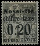 * NOSSI-BE - Taxe - 1, Signé Brun: 20c. S. 1c. Noir S. Azuré - Unused Stamps