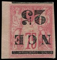 * NOUVELLE-CALEDONIE - Poste - 5a, Surcharge Renversée, Signé Brun: 25 S. 75c. Rose - Unused Stamps