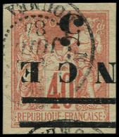 O NOUVELLE-CALEDONIE - Poste - 6, Surcharge Renversée, Barre Doublée: 5 S. 40c. Rouge - Used Stamps