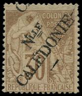 (*) NOUVELLE-CALEDONIE - Poste - 30, Surcharge à Cheval, Signé Miro & Thiaude: 30c. Brun - Unused Stamps