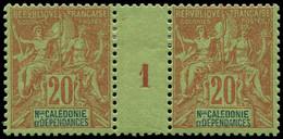 """* NOUVELLE-CALEDONIE - Poste - 47, Paire Millésime """"1"""": 20c. Brique S. Vert (Maury) - Unused Stamps"""
