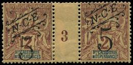"""* NOUVELLE-CALEDONIE - Poste - 54, En Paire Millésime """"3"""", * Forte + Adhérences, Tirage 800 (dents Courtes): 5c. S. Lila - Unused Stamps"""
