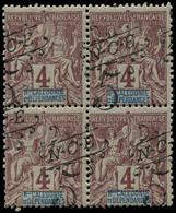 ** NOUVELLE-CALEDONIE - Poste - 55, Bloc De 4 Surcharge à Cheval: 5c. S. 4c. Lilas-brun (Maury) - Unused Stamps