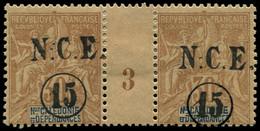 "* NOUVELLE-CALEDONIE - Poste - 56, En Paire Millésime ""3"", * Forte, Tirage 800: 15c. S. 30c. Brun (Maury) - Unused Stamps"