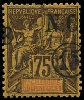 * NOUVELLE-CALEDONIE - Poste - 57, Surcharge à Cheval: 15c. S. 75c. Violet S. Jaune (Maury) - Unused Stamps