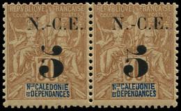 """** NOUVELLE-CALEDONIE - Poste - 65/65a, Paire Dont 1 Exemplaire """"5"""" Sans Boule: 5c. S. 30c. Brun (Maury) - Unused Stamps"""