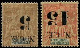 * NOUVELLE-CALEDONIE - Poste - 65a/66a, Surcharges Renversées - Unused Stamps