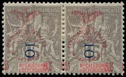 * NOUVELLE-CALEDONIE - Poste - 85, En Paire, Surcharge Du Cinquantenaire à Cheval: 10c. S. 15c. Gris (Maury) - Unused Stamps