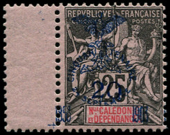 ** NOUVELLE-CALEDONIE - Poste - 87, Surcharge Du Cinquantenaire à Cheval, Bdf: 20c. S. 25c. Noir S. Rose (Maury) - Unused Stamps