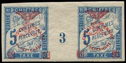 """* NOUVELLE-CALEDONIE - Taxe - 8, Paire Millésime """"3"""" (1 Ex. *): 5c. Bleu - Postage Due"""