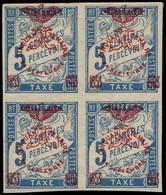 """** NOUVELLE-CALEDONIE - Taxe - 8, Bloc De 4 Dont 1 Exemplaire Sans Le """"i"""": 5c. Bleu - Postage Due"""