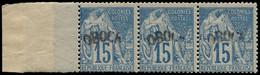 ** OBOCK - Poste - 6, Bande De 3 Dont 1 Exemplaire Surcharge Incomplète, Signé Scheller: 15c. Bleu - Unused Stamps