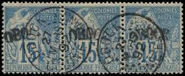 """O OBOCK - Poste - 6, Bande De 3 Dont 1 Exemplaire """"OBO"""", Signé JF Brun: 15c. Bleu - Used Stamps"""