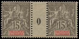 """** OCEANIE - Poste - 16, Paire Millésime """"0"""", * Sur Millésime: 15c. Gris (Maury) - Unused Stamps"""