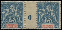 """** OCEANIE - Poste - 17, Paire Millésime """"0"""", * Sur Millésime: 25c. Bleu (Maury) - Unused Stamps"""