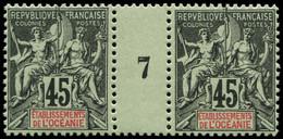 "** OCEANIE - Poste - 19, Paire Millésime ""7"": 45c. Noir S. Vert - Unused Stamps"