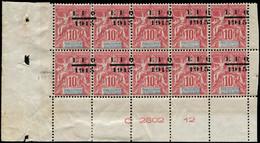 ** OCEANIE - Poste - 38, Bloc De 10 Surcharge à Cheval, Gomme Coloniale, Cdf Avec Numéros: 10c. Rouge - Unused Stamps