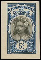 (*) OCEANIE - Poste - 47, Non Dentelé: 5c. Bleu Tahitienne - Unused Stamps