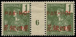 """* PAKHOI - Poste - 17, Paire Millésime """"6"""", Tirage 240: 1c. Vert-olive Foncé (Maury) - Unused Stamps"""