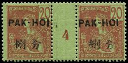 """** PAKHOI - Poste - 23, Paire Millésime """"4"""", Tirage 180 (* Sur Millésime): 20c. Brique S. Vert - Unused Stamps"""