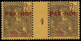 """** PAKHOI - Poste - 31, Paire Millésime """"3"""", Tirage 77, * Sur Millésime: 2f. Violet S. Jaune - Unused Stamps"""
