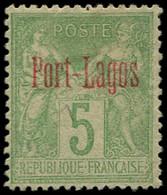 """(*) PORT-LAGOS - Poste - Maury 1A, Tirage Expo De 1900 """"N"""" Sous """"B"""", Signé Calves: 5c. Vert - Unused Stamps"""