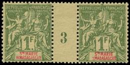 """** SAINTE MARIE MADAGASCAR - Poste - 13, Paire Millésime """"3"""" (* Sur Millésime): 1f. Olive - Unused Stamps"""