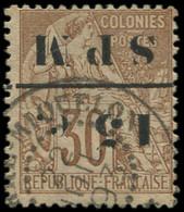 O SAINT PIERRE & MIQUELON - Poste - 12a, Surcharge Renversée, Signé Brun (points Jaunes): 15 S. 30c. - Used Stamps