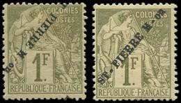 * SAINT PIERRE & MIQUELON - Poste - 30/30 (A), Normal + Renversé, Signé Scheller: 1f. Olive - Neufs