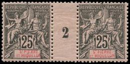 """* SAINT PIERRE & MIQUELON - Poste - 66, Paire Millésime """"2"""": 25c. Noir S. Rose (Maury) - Neufs"""