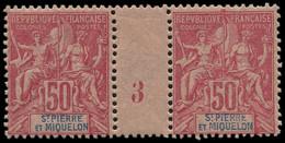 """** SAINT PIERRE & MIQUELON - Poste - 69, Paire Millésime """"3"""" (* Sur Millésime): 50c. Rose - Neufs"""