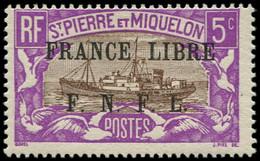 * SAINT PIERRE & MIQUELON - Poste - 236, Signé Calves: 5c. Violet Et Brun France Libre - Neufs